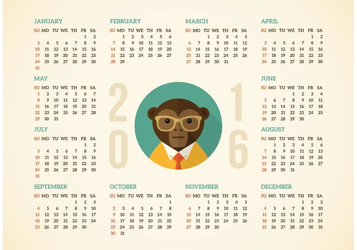 free calendar 2016 with hipster monkey