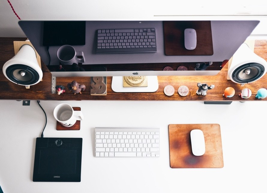 creative workspace of web designer