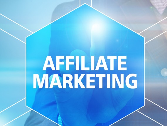 Businessman pressing affiliate marketing button on virtual screens. Business, technology, internet and networking concept