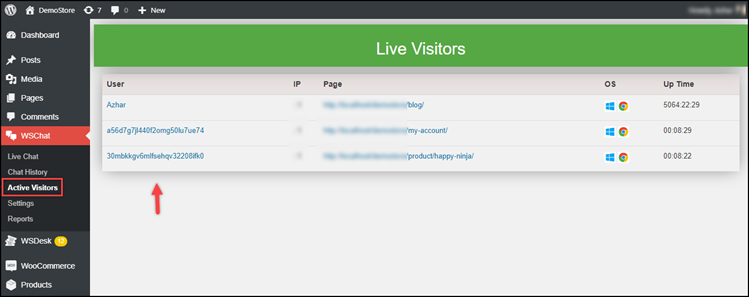 10. WSChat Active Visitors