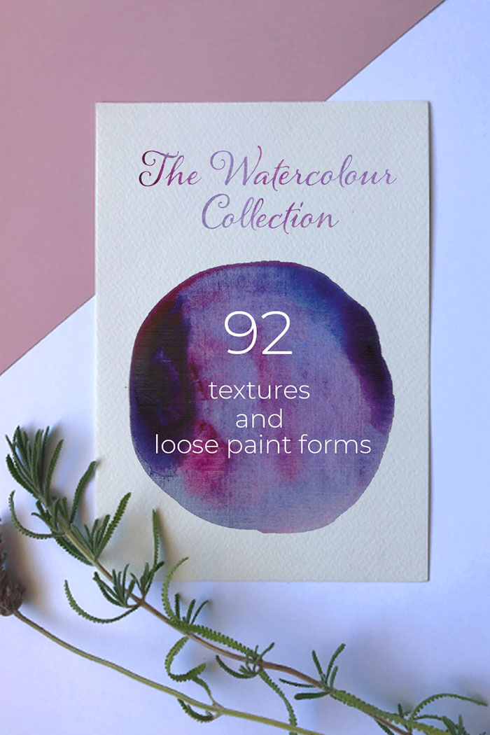 92 Handmade Watercolor Texture and Loose paint forms Background